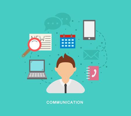 comunication: Business comunication vector icons art Illustration