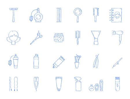 Barbershop tool icons handmade style