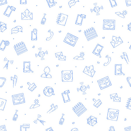 Mobile service icons handmade style 向量圖像