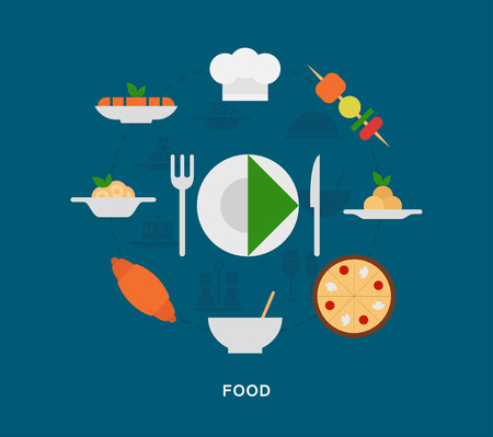 Food icons on blue background