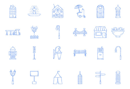 City elements icons handmade style