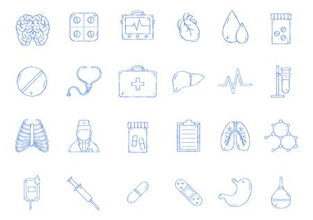 Medecine vector icons handmade style