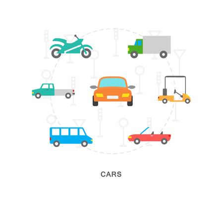 City transport icons illustration on white