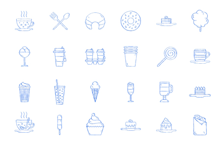 Cafe sweets icons handmade style