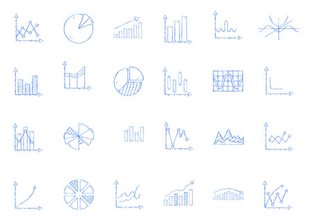 Business statistics icon set handmade style 向量圖像