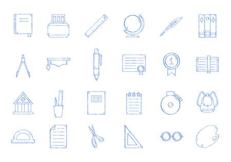 School icons set handmade style 向量圖像