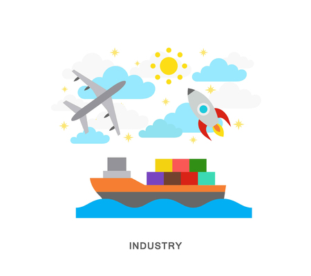 Traffic industry roket, ship and airplane