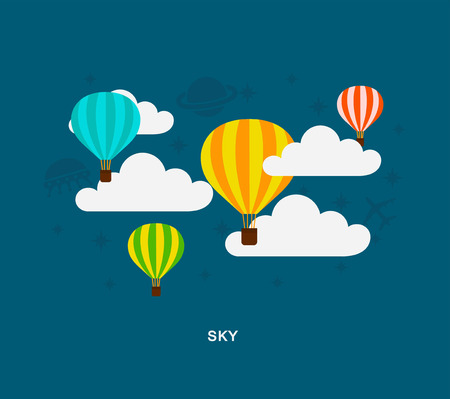 Sky aerostat icons illustration