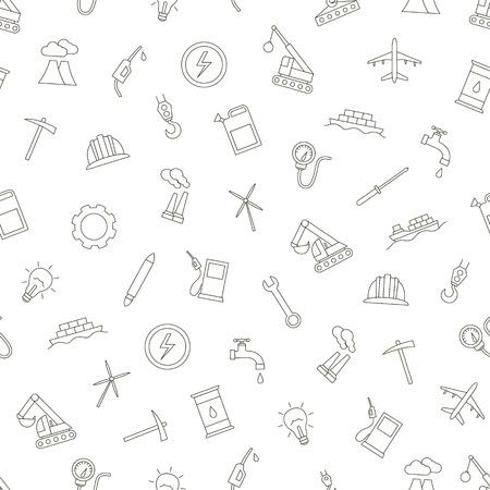 industry icons set handmade style