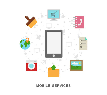 Mobile services icons on white