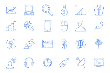 Work process icons set handmade style