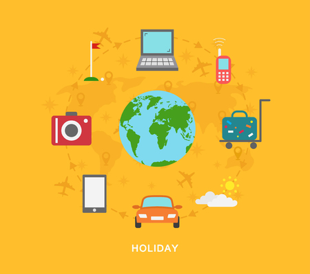 around the world: Holiday travel icons around world