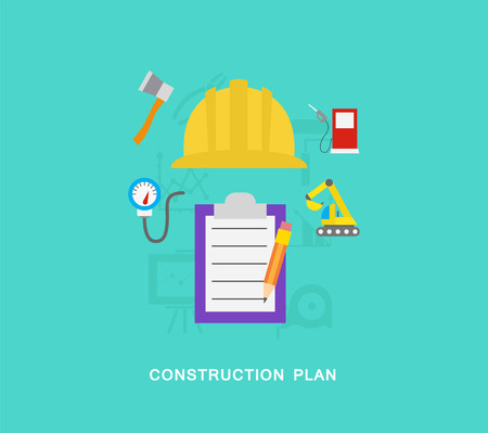 Construction building plan icons 向量圖像