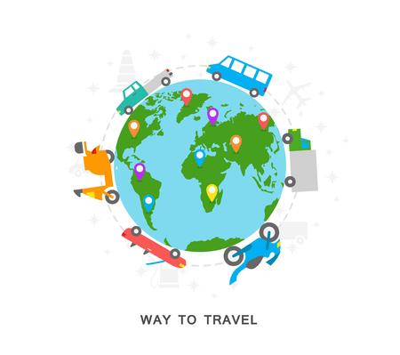 Way-Symbole Erde zu reisen Vektorgrafik
