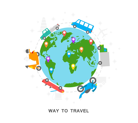 Way to travel icons earth