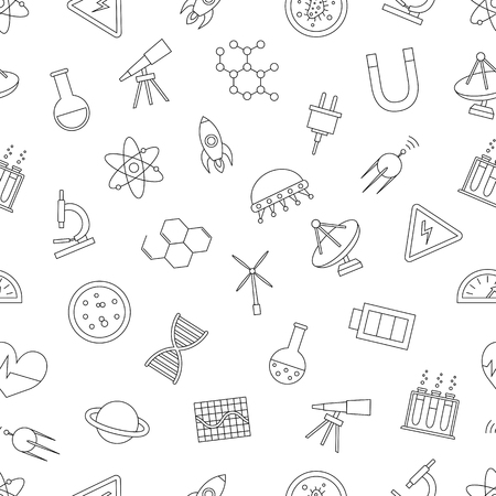 Science icons pattern on white background 向量圖像