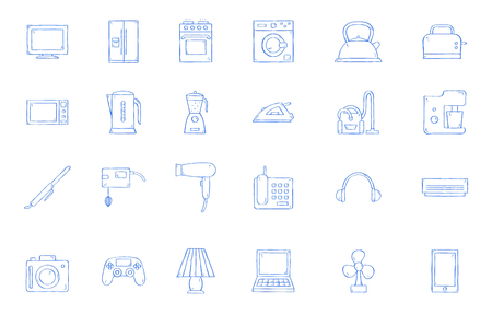 Appliances icons handmade style 向量圖像