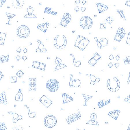 Casino icons set handmade style 向量圖像