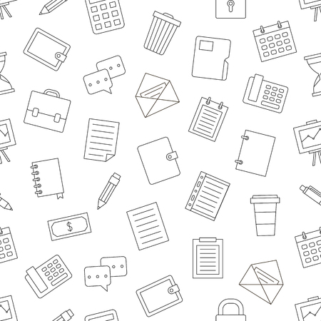 office icons pattern on white