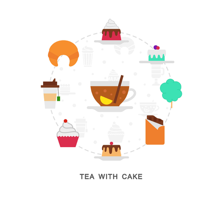 Tea with cake icons on white 向量圖像
