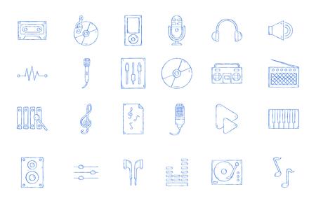 Music icons set handmade style