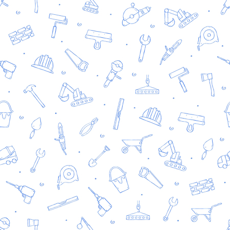 Construction tools icons set handmade style