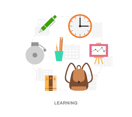 Learning items icons vector set Illustration