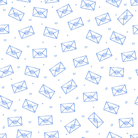 Mail icons pattern handmade style