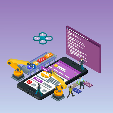 experienced: Mobile App Development, Experienced Team. Flat 3d isometric black phone. Manipulator robot robotized. Work on the online store. Web development and UI design concept. Html code to the screen. Illustration