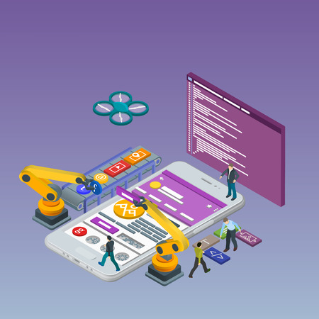 Mobile App Development, Experienced Team. Flat 3d isometric white phone. Manipulator robot robotized. Work on the online store. Web development and UI design concept. Html code to the screen. Иллюстрация