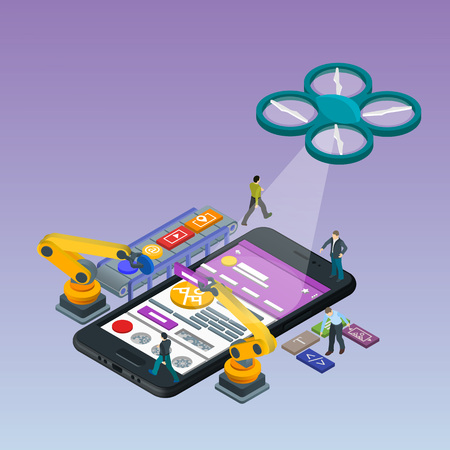 Mobile App Development, Experienced Team. Flat 3d isometric black phone. Management and Project Management. Manipulator robot robotized. Work on the online store. Web development UI design concept.