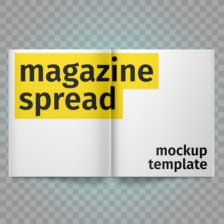 blank magazine: Book Spread With Blank White Pages. Vector blank magazine spread. Isolated white paper. A4 brochure open. Template magazine spread. Illustration
