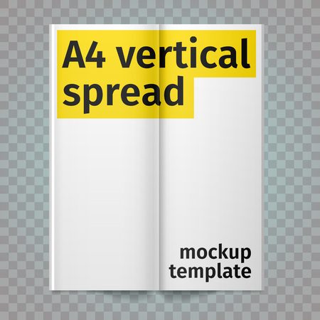 spread: Vertical A4 flyer spread with white pages. Vector blank A4 spread. Isolated white paper. A4 brochure open. Template leaflet spread.