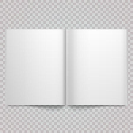 開いた雑誌の見開きページ空白のページで。孤立したホワイト ペーパー ホワイト バック グラウンドに広がる空のマガジンを白いベクトル。空白の