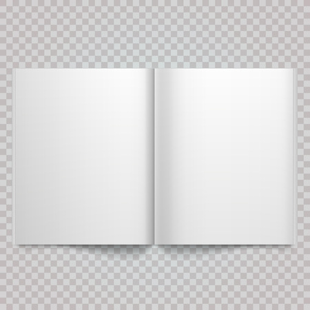 Open magazine double-page spread with blank pages. Isolated white paper Vector white blank magazine spread on white background. Book Spread With Blank White Pages