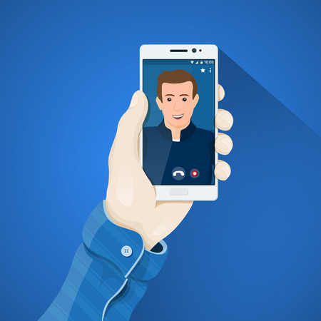 conferencing: Phone in hand vector illustration in flat style. Mans hand holding a phone concept. Online video conferencing. Video call on the screen of white smartphone. Mobile app vector clipart