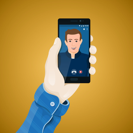 conferencing: Online video conferencing. Hand with phone vector illustration in flat style. Mans hand holding a phone concept. Video call on the screen of black smartphone. Mobile app vector clipart