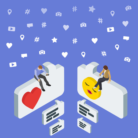 flirt: Social media marketing 3d isometric concept. Online dating and chat. Isometric People sit on the dialog box. Flat social icons. Exchange messages. Community & Flirt vector illustration. Illustration
