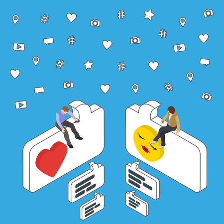 flirt: Online dating and chat. Isometric People sit on the dialog box. Social media marketing 3d isometric concept. Flat social icons. Exchange messages. Community & Flirt vector illustration.