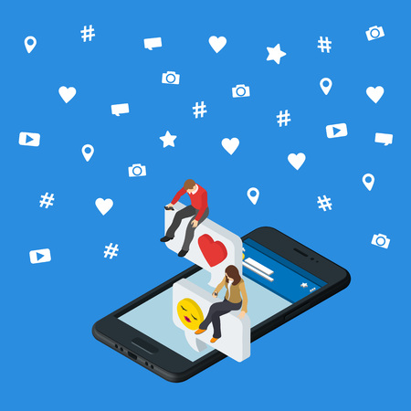 flirt: Social media marketing 3d isometric concept. Black 3d smartphone. Isometric People sit on the dialog box. Online dating and chat. Social icons. Exchange messages. Community & Flirt vector illustration Illustration
