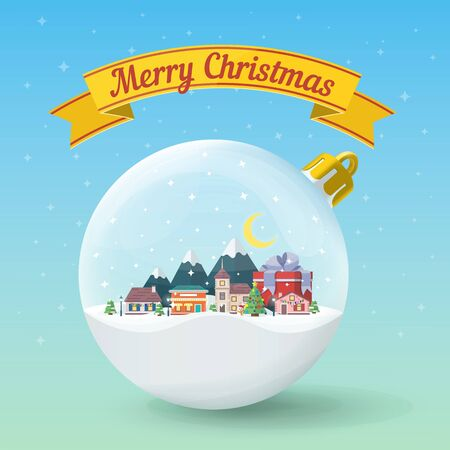 Transparent Christmas ball. Winter landscape. Nature, buildings, village and city in a flat style. Yellow festive ribbon. Merry Christmas and Happy New Year vector illustration.