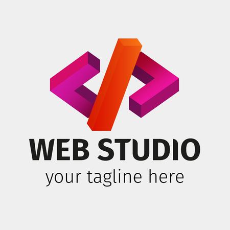Template of logo web studio. Software and app for design company logo. Web studio or website agency logo. Material design colors. Vector illustration.