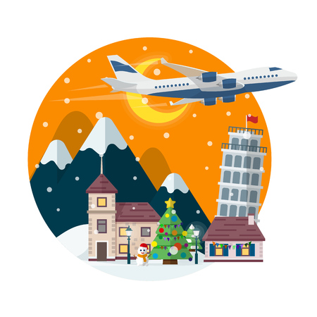 holyday: Travel to Italy. Merry Christmas round banner in flat style. Traveling in time of vacation by plane. The winter holyday. The village, Christmas tree, ferris wheel in a flat style. Vector illustration