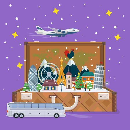 snowdrifts: Merry Christmas and Happy New Year 2017 travel. Open suitcase with landmarks. Vector illustration for the website, ads. Winter landscape. Santa Claus and plane in the sky. Figures in the snowdrifts