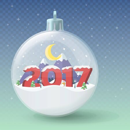 Transparent Christmas ball. Insulated glass ball. Winter landscape. New Year 2017. Flat 3d numerals. Merry Christmas and Happy New Year vector illustration.