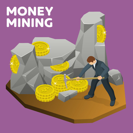 Money mining flat 3d isometric banner. Rock stone cartoon in isometric flat style. A man in a suit with a pickaxe to mine gold coins. Businessman seeking financial success. Vector illustration Illustration