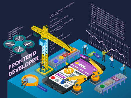 Mobile App Development. Flat 3d isometric mobile UI web design concept. Isometric infographic concept. Futuristic virtual graphic user interface. People at work in different poses. Vector illustration Illustration