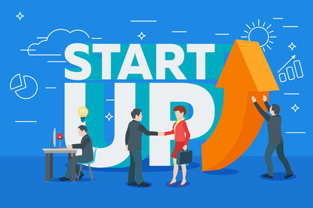 Business startup work moments flat banner. New ideas, search for investor, increased profits. Vector illustration of a business situation. Businessman and businesswoman enter into a contract