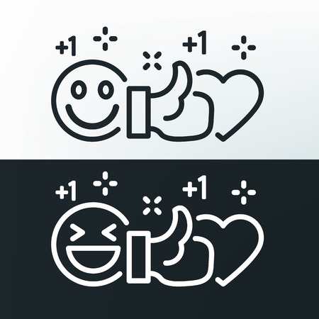 Smile, thumb up and heart. Vector lines black and white icons. Social networks and social media template. Vector illustration