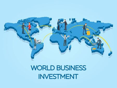 People on the world map 3d. Business startup work moments flat banner. New ideas, search for investor, increased profits. Business situation. Businessman and businesswoman enter into a contract